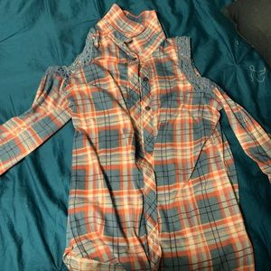 Tops - Cold shoulder button up shirt size medium